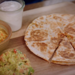 Jimmy Doherty quesadillas with pineapple salsa and guacamole recipe on Jamie and Jimmy's Friday Night Feast