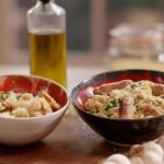 John Torode sausage and orzo pasta with pangritata recipe on John and Lisa's Weekend Kitchen