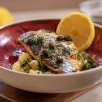 John Torode and Lisa Faulkner sea bass with preserved lemon and potatoes recipe on John and Lisa's Weekend Kitchen