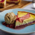 Simon Rimmer rhubarb and custard tart with caramel ice cream recipe on Sunday Brunch