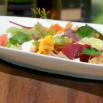 James Martin BBQ beetroot salad with bread, cheese and hazelnuts recipe on James Martin's Saturday Morning