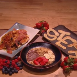 Simon Rimmer American style pancake with blueberries and cottage cheese recipe on Steph's Packed Lunch
