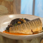 Matt Tebutt roasted sea bass with sauteed wild mushrooms, cavolo nero and a spicy red pepper sauce recipe on Saturday Kitchen