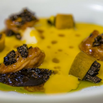 Sat Bains butternut squash soup with chicken oysters and truffles recipe on James Martin's Saturday Morning