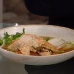 Matt Tebbutt seafood pot roast with monkfish, miso broth, carrots and shiitake mushrooms  recipe on Saturday Kitchen