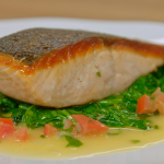 Raymond Blanc pan fried organic salmon with wilted spinach and chive butter sauce recipe on Simply Raymond Blanc