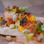 Jamie Oliver BBQ salmon tacos with Cajun spices, salsa and flatbread recipe on Jamie: Keep Cooking Family Favourites