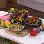 Phil Vickery finger-licking chicken with a macaroni salad and stuffed peppers recipe on This Morning