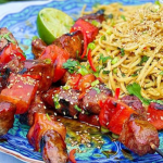 John Gregory-Smith hoisin duck and watermelon skewers with peanut noodles recipe on Sunday Brunch