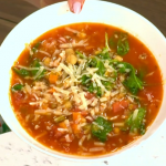 Clodagh Mckenna summer Italian minestrone soup with celery, chickpeas and cherry tomatoes recipe on This Morning