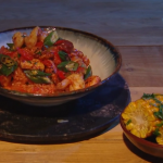 Freddy Forster spicy chicken jambalaya with prawns and okra recipe on Mel B's Packed Lunch