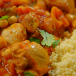 Ainsley Harriott Rose Harissa Chicken tagine with Apricots and Chickpeas recipe on Ainsley's Good Mood Food