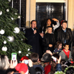 X Factor finalist James Arthur, Christopher Maloney and Jahmene Douglas sing at Downing Street in front of the Prime Minster