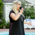SHELLEY SMITH at Sharon Osbourne's X Factor Judges Houses singing Girl on Fire by Alicia Keys