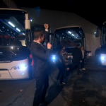 X Factor battle bus for Fleur East, Ben Haenow and Andrea Faustini after making final