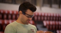 Sportiiiis fitness tracker tested by Steve Jones and Richard Ayoade on the new series of Gadget Man. The device attaches to your glasses to provide performance feedback.