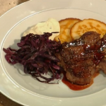 Saturday Kitchen:  Tom Kerridge cooks Venison T-bone steaks with red cabbage and potato pancakes