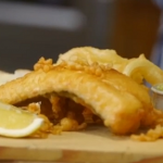 Homemade Hake fish in Beer battered with mushy peas recipe by James Martin