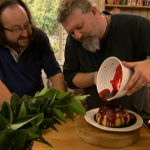 Steamed apple sponge pudding with blackberry sauce by Hairy Bikers