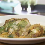 Rick Stein Pan-fried monkfish with wild garlic and fennel on Spring Kitchen with Tom Kerridge