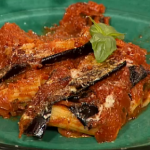 Gino Aubergines with  parmesan topping Pasta Bake Tortiglioni alla parmigiana on This Morning
