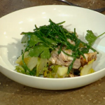 Grilled sardines with lettuce and samphire on Spring Kitchen with Tom Kerridge