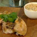 Spring Chicken with Morel mushrooms and risotto on Spring Kitchen with Tom Kerridge