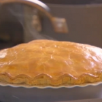Bikers potato and onion vegetarian pie with mushroom gravy and cheese pastry recipe
