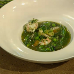 James Martin langoustines soup with  Jersey Royals, peas, asparagus and salsa verde on Saturday Kitchen