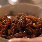 Nigella Lawson chocolate pasta with caramel and pecans on Nigellissima