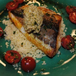 Gino pan fried grey mullet with cherry tomatoes and cous cous recipe on Let's Do Lunch