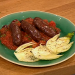 Gino Venison Sausages with puttanesca sauce recipe on Let's Do Lunch