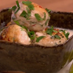 Gino herby chicken meatballs with a coconut and noodle broth recipe on Let's Do Lunch