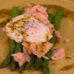 Gino salmon with griddled asparagus and poached egg recipe on Let's Do Lunch