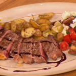 Gino salmon with sliced steak with tomato and mozzarella salsa recipe on Let's Do Lunch