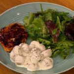 Gino Sticky BBQ chicken with quick new potato salad recipe on Let's Do Lunch