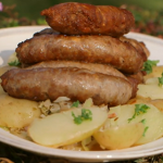 Brian Turner lamb sausages with pickled cabbage recipe on A Taste Of Britain