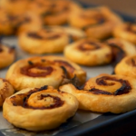 Lorraine Pascale chorizo and lemongrass pastry puff scrolls recipe on How to be a Better Cook