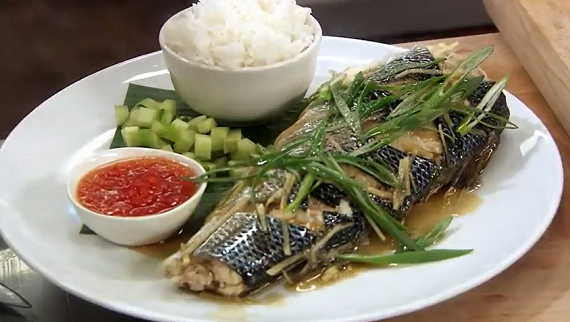 John Torode steamed sea bass with ginger, spring onions ...
