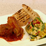 Gino D'Acampo trio of meats served with courgette salad and garlic bread recipe on This Morning