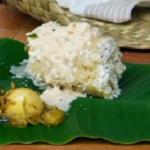 Egg curry with steamed tapioca and coconut dish on The Spice Trip