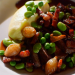 Chef Mike North venison with mash potatoes dish at the North Nut Tree Inn on A Taste Of Britain wowed Brian and Janet