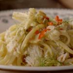 Jamie Oliver crab linguine pasta with chillies recipe on Jamie's Comfort Food