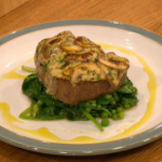 Gino D'Acampo no  carb fillet of beef with mushroom  rarebit recipe Let's Do Christmas with Gino and Mel