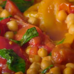 Nigel Slater peppers with chickpeas and harissa recipe on  Nigel Slater's Dish of the Day