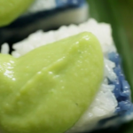 Helen's  Malaysian Coconut pandan custard with blue-pea-flower rice cakes recipe on Nigel Slater: Eating Together