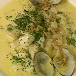 Rick Stein cod and  clams chowder with salt pork recipe on Saturday Kitchen