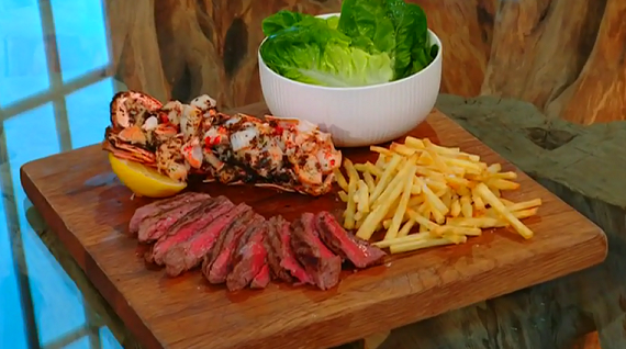 James Martin lobster and fillet steak with straw fries and ...