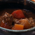 Venison and smoked bacon casserole on Terry and Mason's Great Food Trip