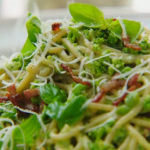 Jamie Oliver creamy carbonara with almonds and basil recipe